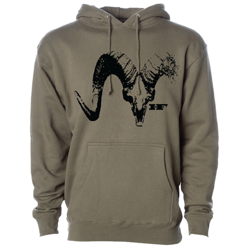 Army Green Sheep Skull Hoodie